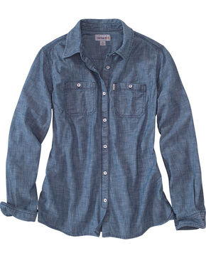 Carhartt Women's Milam Long Sleeve Chambray Shirt, Indigo, hi-res