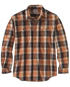 Carhartt Men's Red Hubbard Flannel Long Sleeve Work Shirt, Orange, hi-res