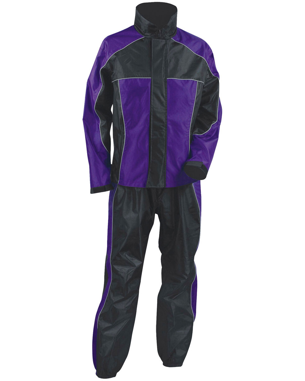 Milwaukee Leather Women's Purple/Black Waterproof Rain Suit - 4X, Black/purple, hi-res