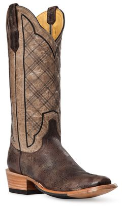 Cinch Classic Vintage Plaid Embroidered Cowgirl Boots - Square Toe, Brown, hi-res