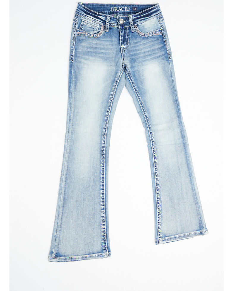 Grace in LA Girls' Light Wash Butterfly Bootcut Jeans, Blue, hi-res