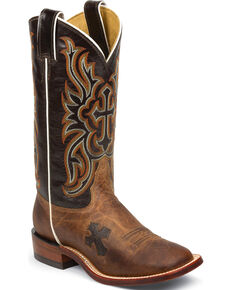 Tony Lama Women's Tan Mad Dog Goat San Saba Western Boots - Square Toe, Tan, hi-res
