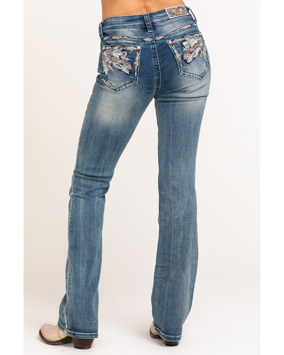 Grace In LA Women's Pastel Feather Pocket Embroidered Boot Jeans, Indigo, hi-res