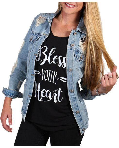 Boom Boom Jeans Women's Destructed Denim Jacket, Blue, hi-res