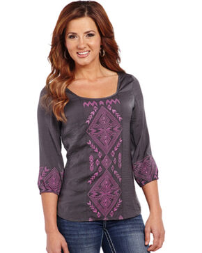 Cowgirl Up Geometric Embroidered Top, Chrcl Grey, hi-res