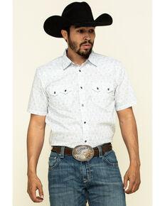 Cody James Men's White Aztec Print Short Sleeve Western Shirt , White, hi-res