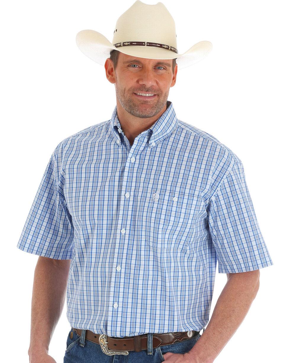 Wrangler George Strait Men's Blue Plaid Short Sleeve Button Down Shirt, Blue, hi-res