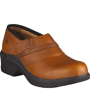 Ariat Tan Clogs - Steel Toe, Tan, hi-res