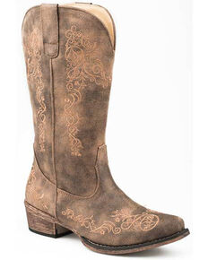 Roper Women's Vintage Brown Western Boots - Snip Toe, Brown, hi-res