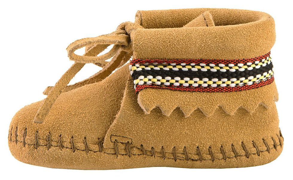 Minnetonka Infant Boys' Braided Bootie Moccasins, Tan, hi-res