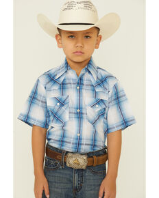Ely Walker Boys' Blue Textured Plaid Short Sleeve Snap Western Shirt , Blue, hi-res