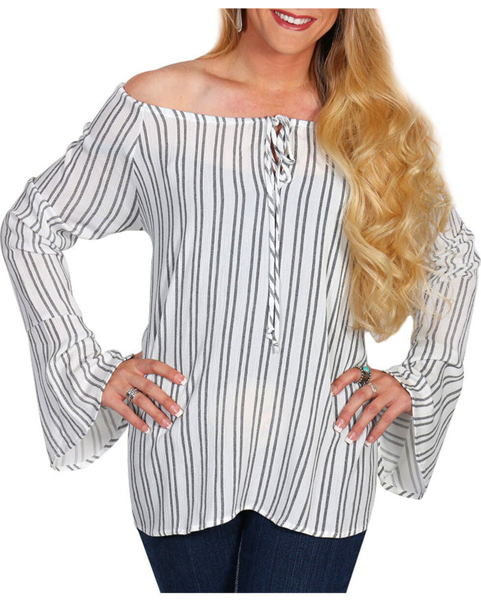 Luna Chix Women's Striped Bell Sleeve Top, Ivory, hi-res