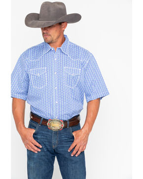 Wrangler 20X Men's Printed Geo Print Advanced Comfort Short Sleeve Western Shirt , Blue, hi-res