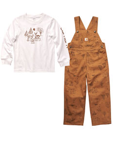 Carhartt Toddler Boys' Brown Long Sleeve Graphic T-Shirt & Overall Set, Brown, hi-res