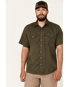 HOOey Men's Solid Olive Habitat Sol Short Sleeve Snap Western Shirt , Olive, hi-res
