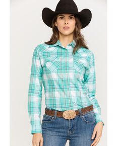 Wrangler Women's Turquoise & White Plaid Long Sleeve Western Shirt, Turquoise, hi-res