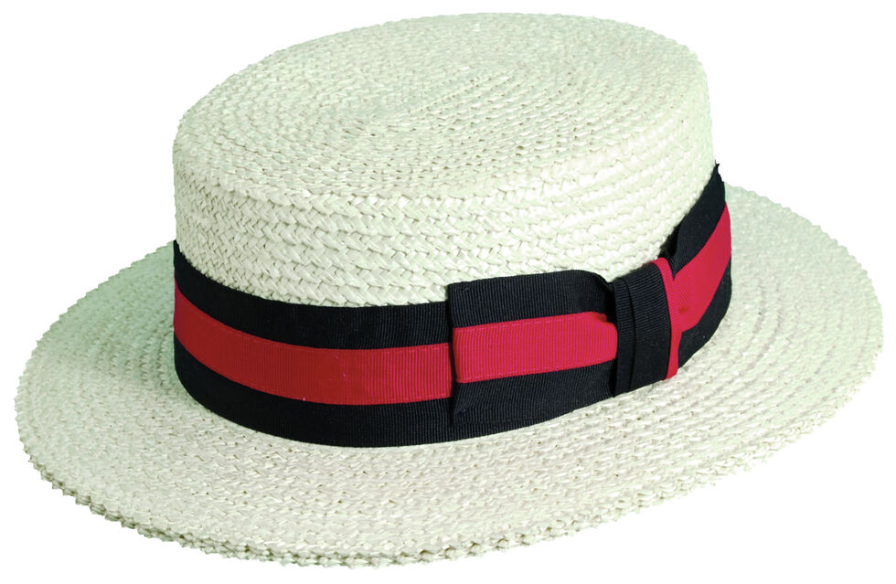 Scala Men's Ivory Straw with Ribbon Trim Boater Hat, Ivory, hi-res