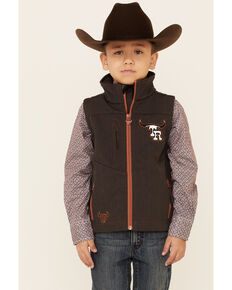 Cowboy Hardware Boys' Team Roping Ranch Zip-Front Softshell Vest , Brown, hi-res