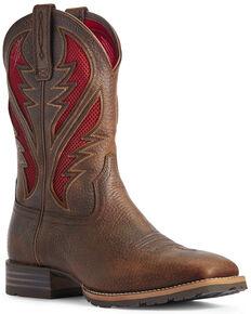 Ariat Men's Hybrid VentTEK Barley Western Boots - Wide Square Toe, Brown, hi-res