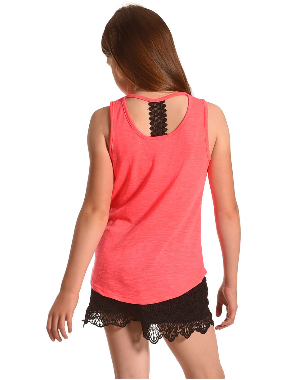 Shyanne Girls' Tank and Short Set with Necklace, Black, hi-res