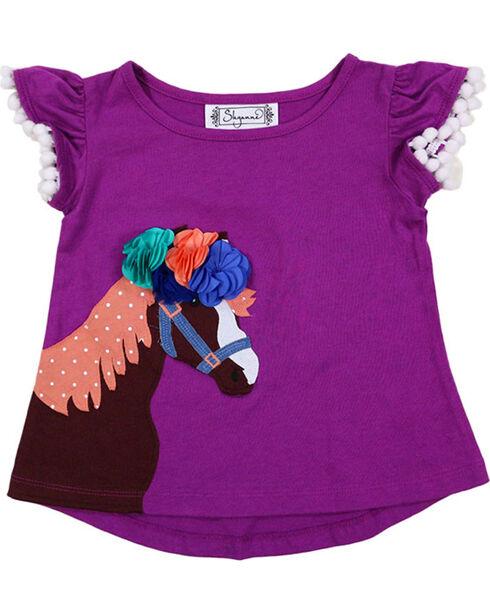 Shyanne Girls' Horse Applique with Pom Poms T-Shirt , Purple, hi-res