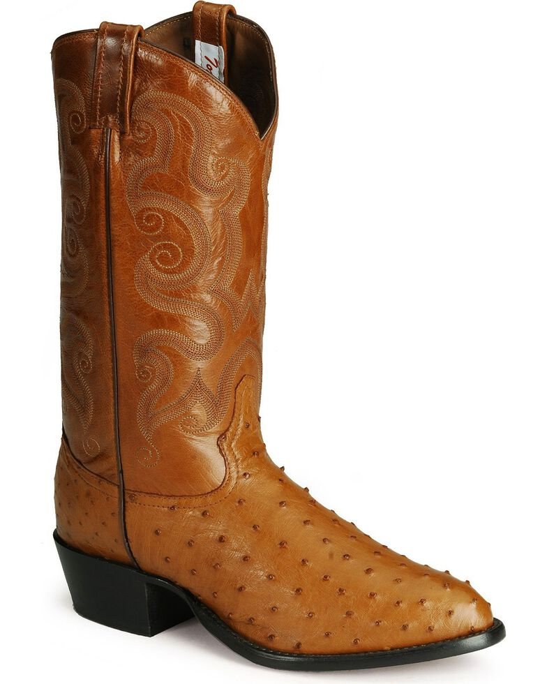 Tony Lama Full Quill Ostrich Western Boots - Medium Toe, Peanut Brittle, hi-res