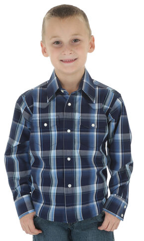 Wrangler Boys' Navy & Black Plaid Wrinkle Resist Western Shirt, Navy, hi-res