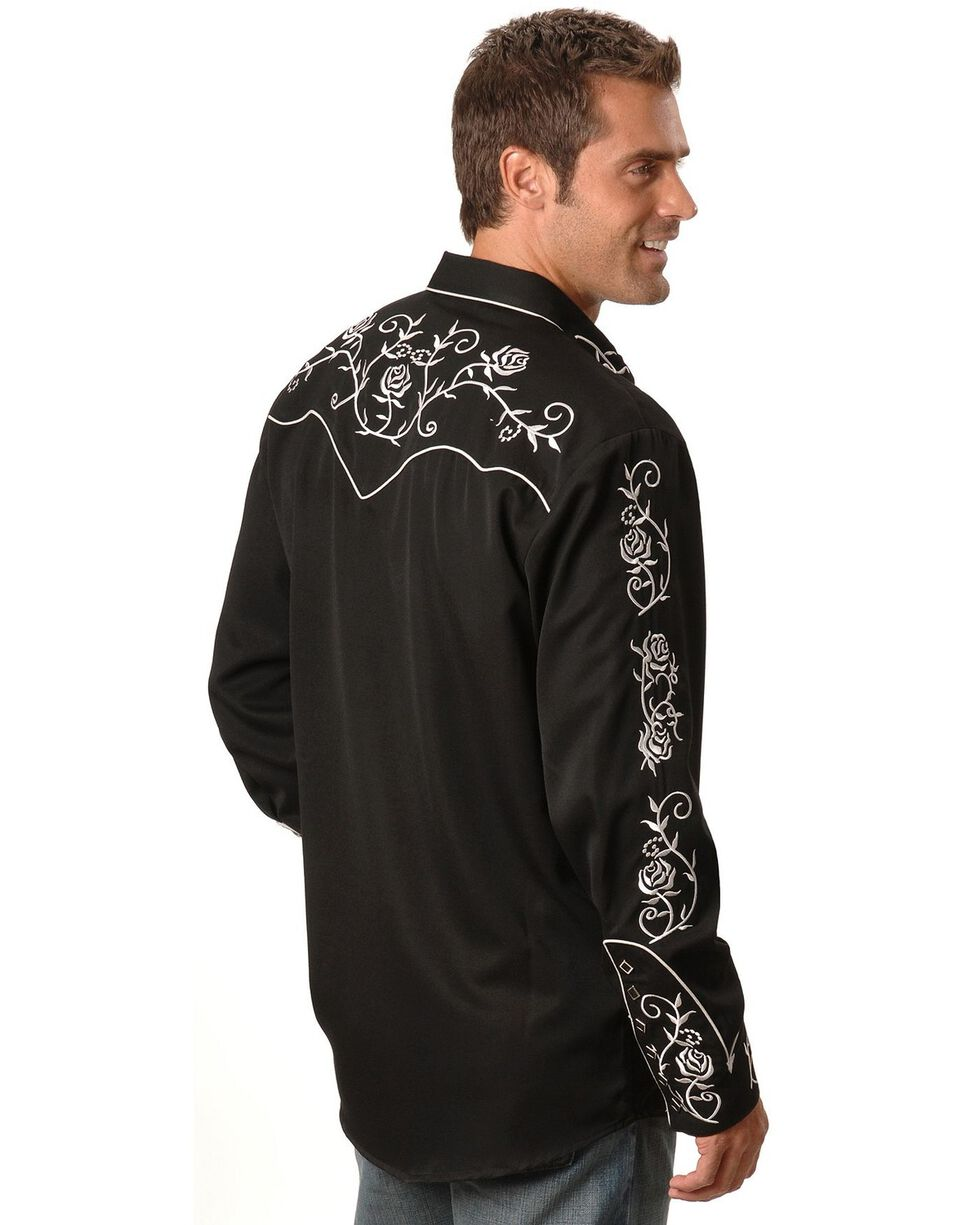 Scully Floral Embroidered Vintage Western Shirt - Big & Tall, Black, hi-res