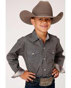 Roper Boys' Red Ridge Amarillo Star Circle Geo Print Long Sleeve Western Shirt , Grey, hi-res