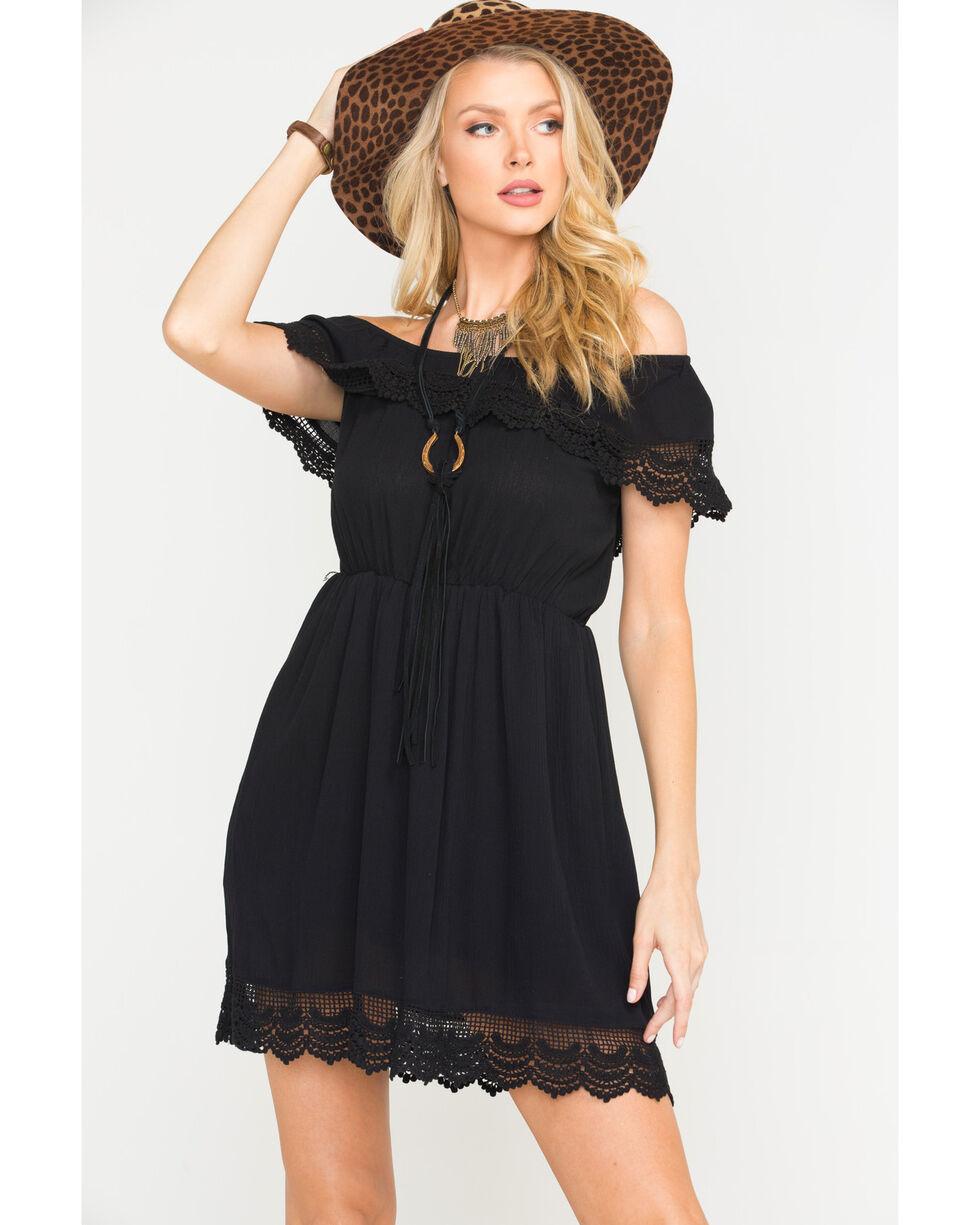 Panhandle Women's Black Peasant Crinkle Dress, Black, hi-res