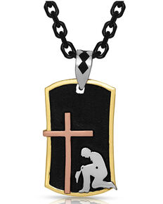 Montana Silversmiths Men's Kneeling At The Cross Dog Tag Necklace, Silver, hi-res