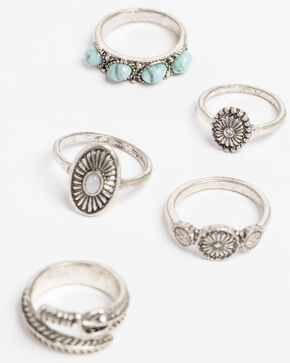 Shyanne Women's Bella Multi Concho 5 Pack Ring Set, Silver, hi-res
