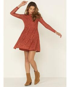 Molly Bracken Women's Rust Lace Mock Neck Mini Dress, Rust Copper, hi-res