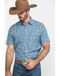 Ariat Men's Jynwood Retro Cactus Geo Print Short Sleeve Western Shirt , Heather Grey, hi-res