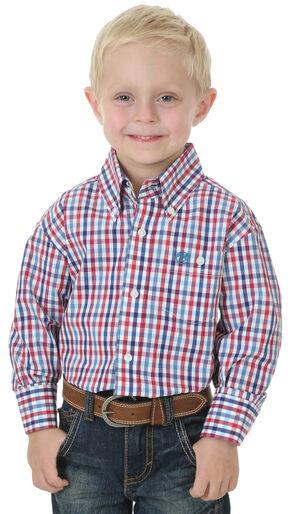 Wrangler Boys' Red Plaid Long Sleeve Shirt, Am Spirit, hi-res