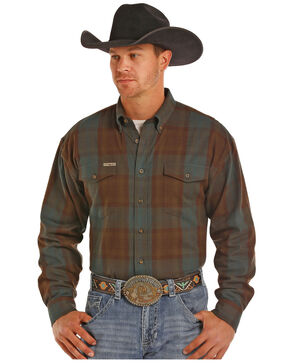 Powder River Outfitters Men's Brown Large Plaid Long Sleeve Western Shirt, Brown, hi-res