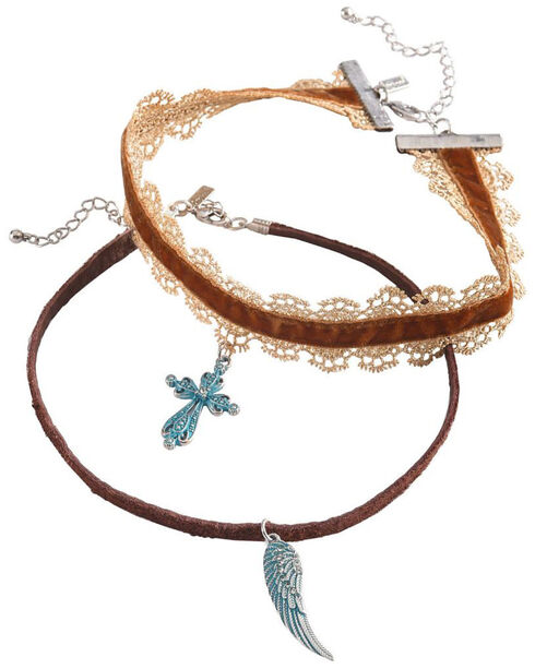Shyanne Women's Cross and Wing Choker Set, Turquoise, hi-res