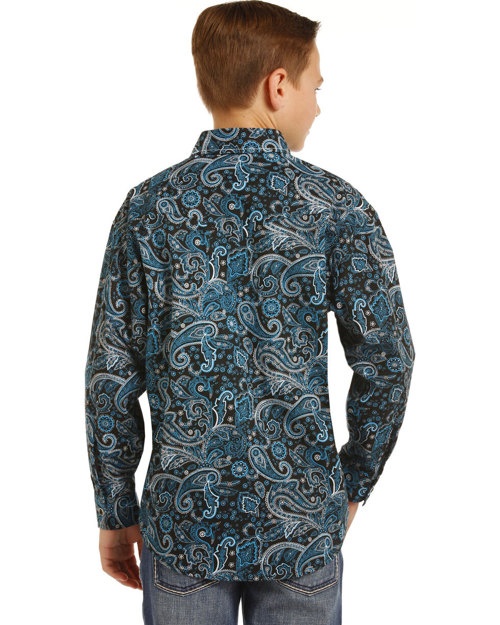 Rock & Roll Cowboy Boys' Poplin Paisley Print Long Sleeve Snap Shirt, Blue, hi-res