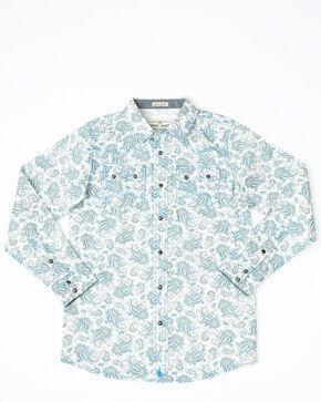 Cody James Boys' Oakwilde Floral Print Long Sleeve Western Shirt , Blue, hi-res