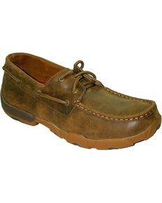 Twisted X Lace-Up Driving Moccasins, Brown, hi-res