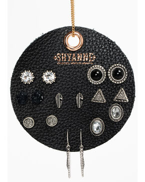 Shyanne Women's Black 8 Pack Earring Patch Set, Black, hi-res