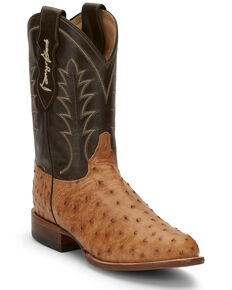 Justin Men's Strait Saddle Western Boots - Round Toe, Tan, hi-res