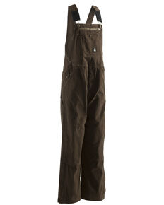 Berne Men's Unlined Washed Duck Bib Overalls, Bark, hi-res