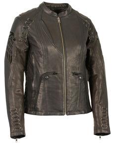 Milwaukee Leather Women's Lightweight Scuba Racer Leather Jacket - 3X, Black, hi-res
