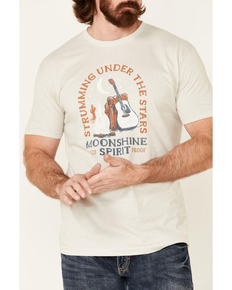 Moonshine Spirit Men's Oatmeal Strummin Under Stars Graphic Short Sleeve T-Shirt , Sand, hi-res