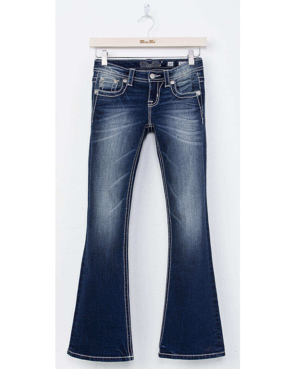Miss Me Girls' All Torn Up Boot Cut Jeans, Indigo, hi-res