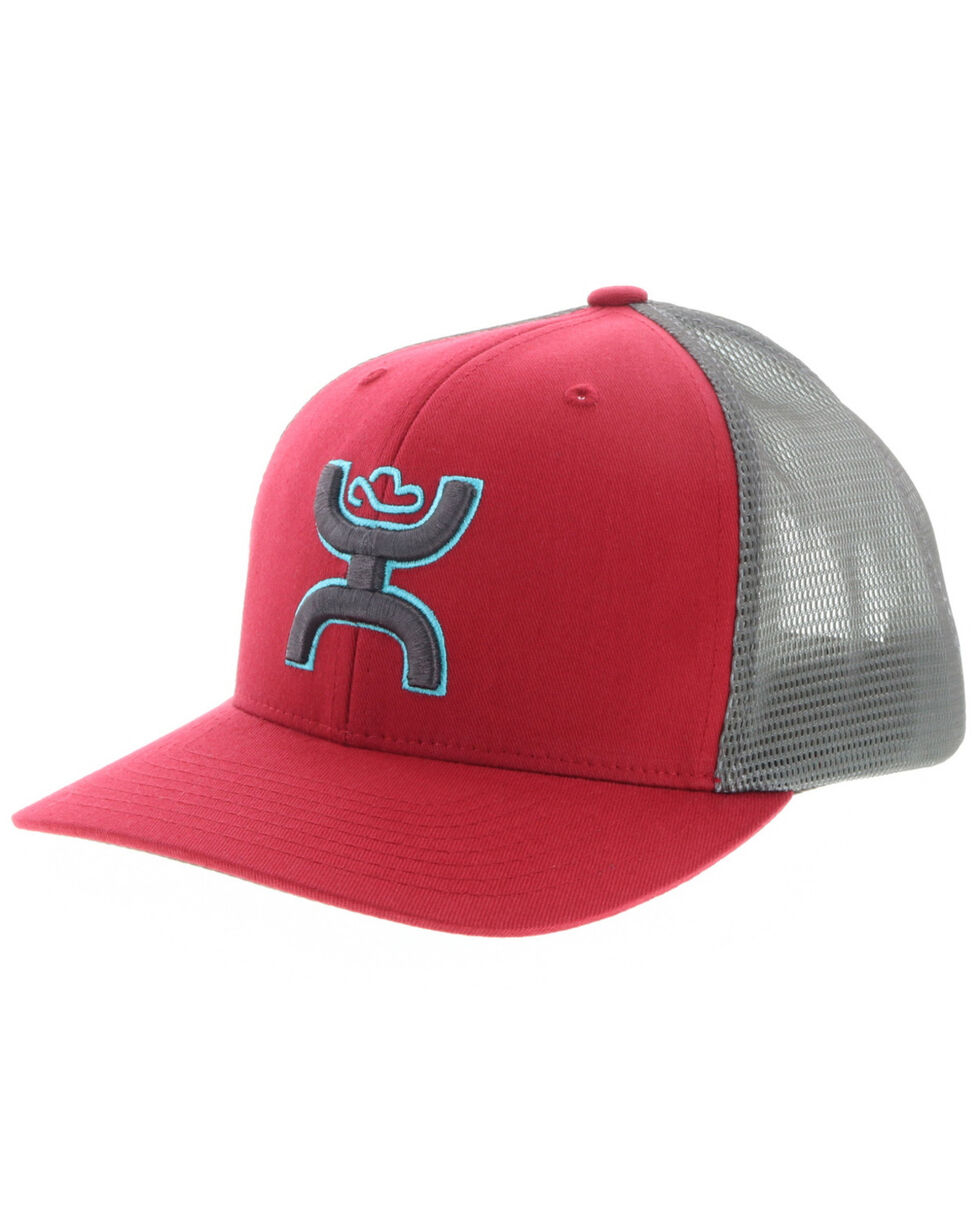 HOOey Men's Red Sterling Mesh Trucker Cap , Red/brown, hi-res
