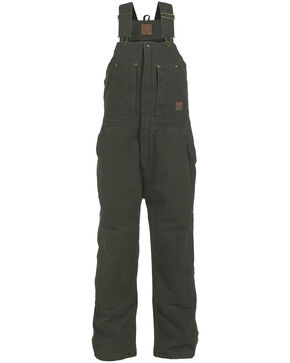 Berne Bark Original Washed Insulated Bib Overalls - Tall, Moss, hi-res