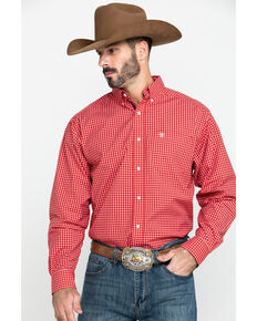 Ariat Men's Newport Small Plaid Long Sleeve Western Shirt , Red, hi-res