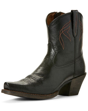 Ariat Women's Lovely Jackal Western Booties - Snip Toe, Black, hi-res